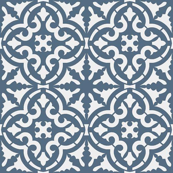 Reusable stencil moroccan style tile allover pattern sku s0120 marokkaanse stijl stencil en - Patroon cement tegels ...