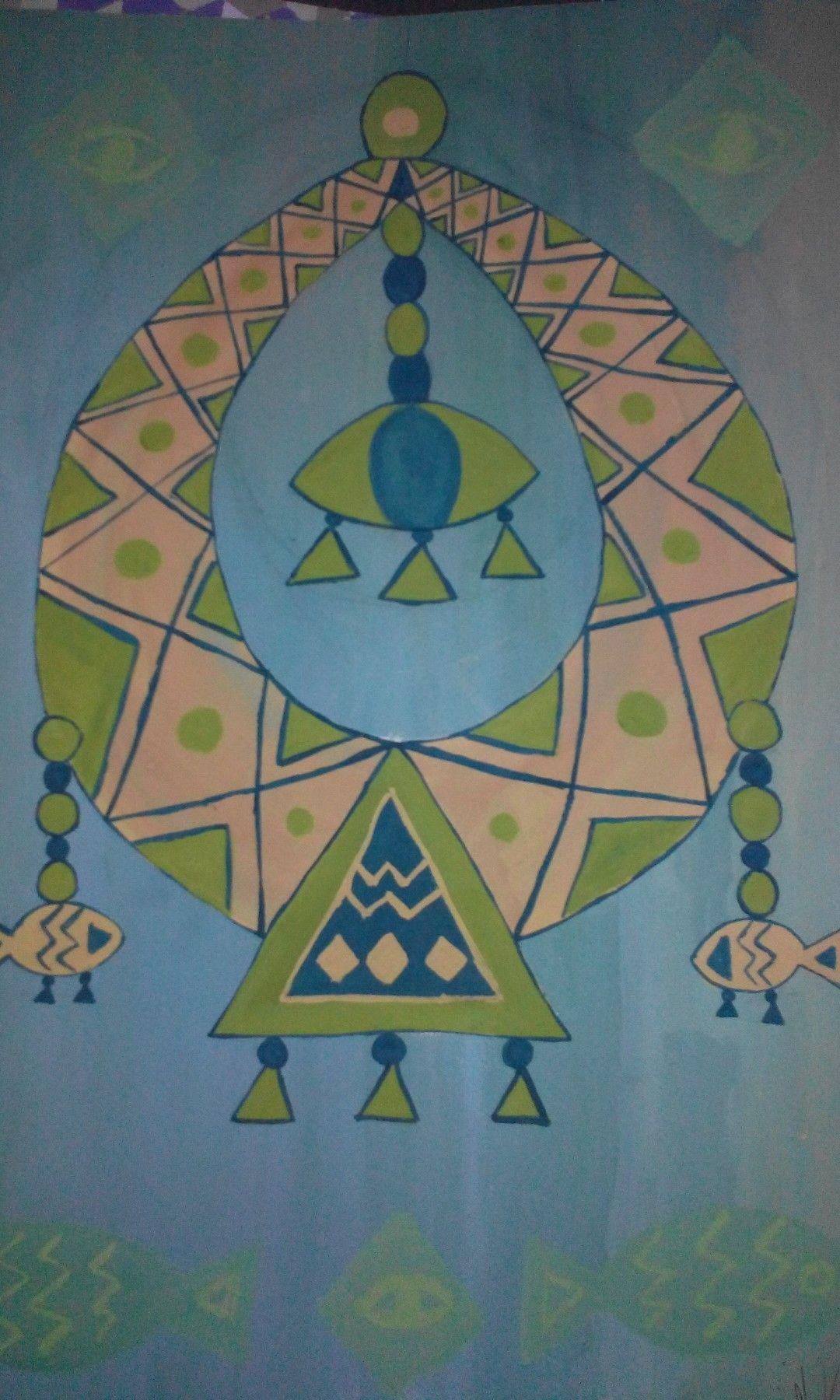 لوحة مستوحاه من الفن الشعبي المصري الوان جواش Egyptian Art Folklore Art Poster Prints