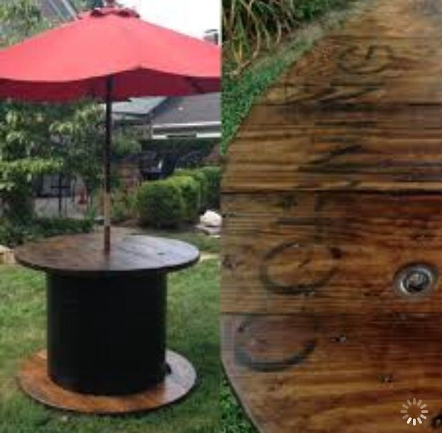 Do It Yourself Home Design: Spool Patio Table With Umbrella