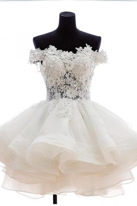 383d23aceca Short Tulle Homecoming Dresses with Applique Flowers