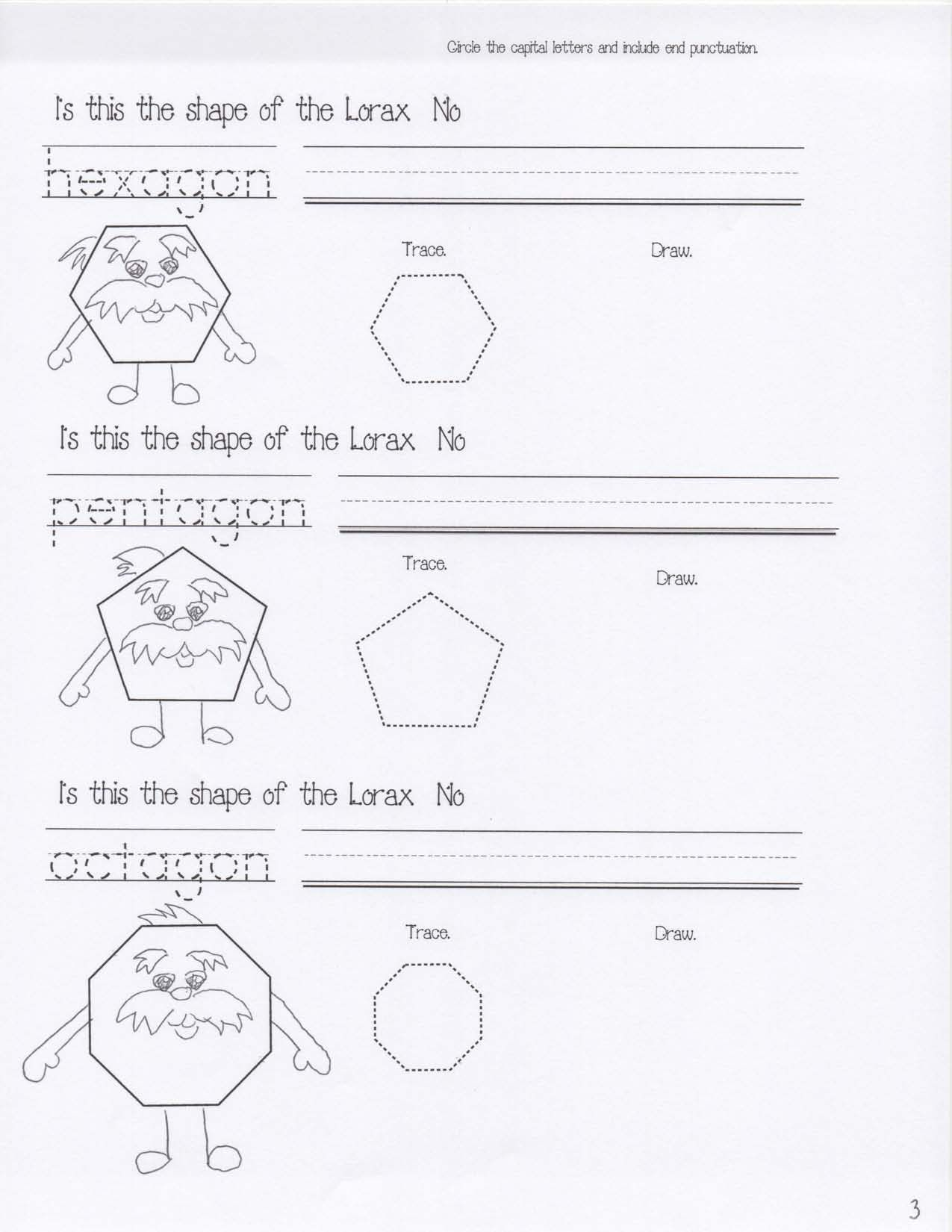Dr Seuss Activities Lorax Shapes