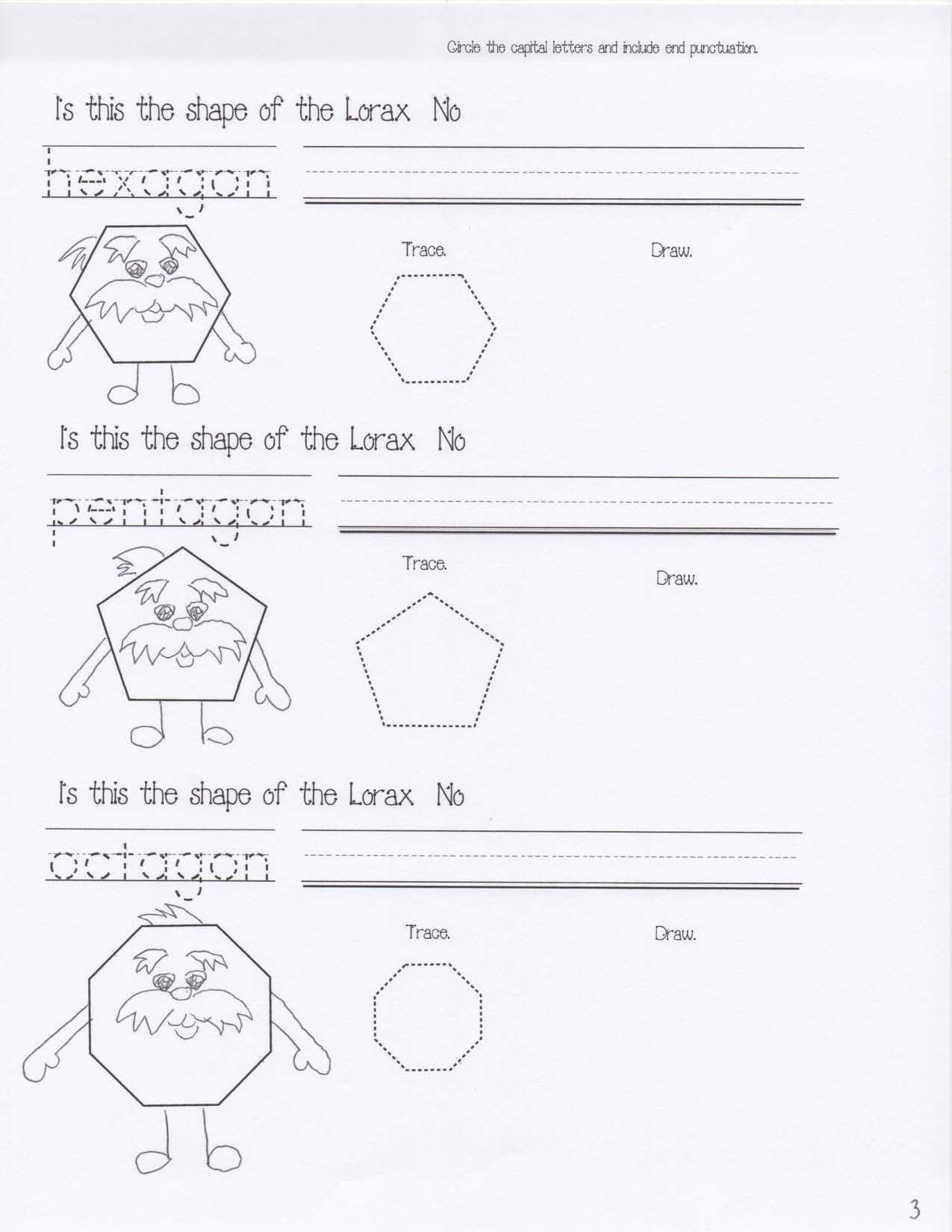 Dr Seuss Activities Lorax Shapes