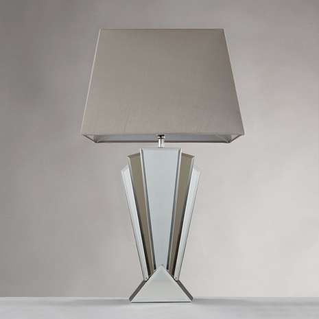 Designed with a luxurious art deco style base complemented by designed with a luxurious art deco style base complemented by chrome finishes this mirrored table lamp features a rectangular polycotton lamp shade aloadofball Images