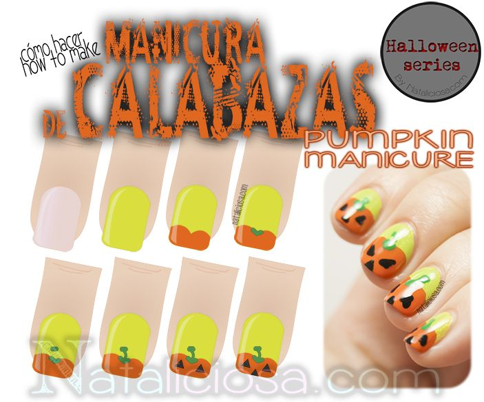 Tutorial - How to make a pumpkin manicure for Halloween - Cómo hacer ...