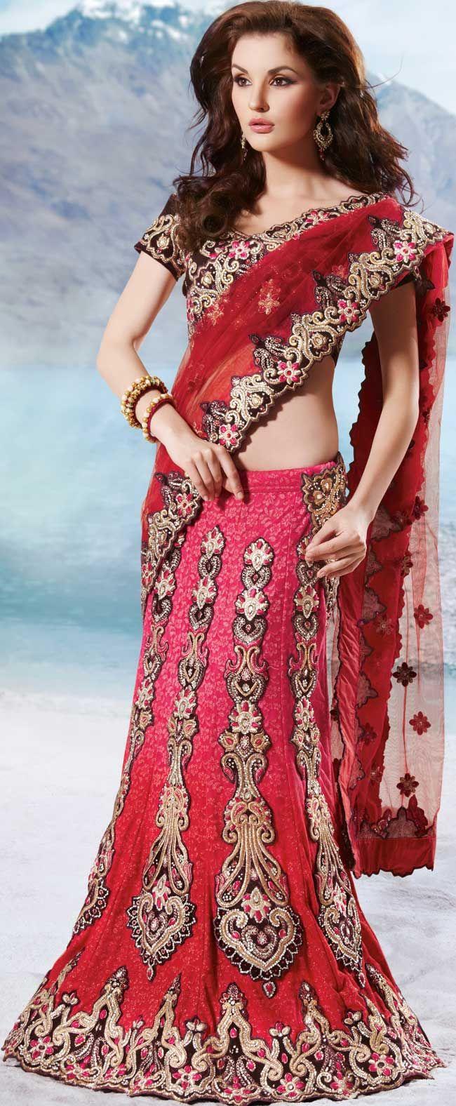 Red Net Stone And Cut Work A Line Wedding Lehenga Style Saree 26155