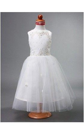 A-line Bateau Ankle-length Satin Flower Girl Dress