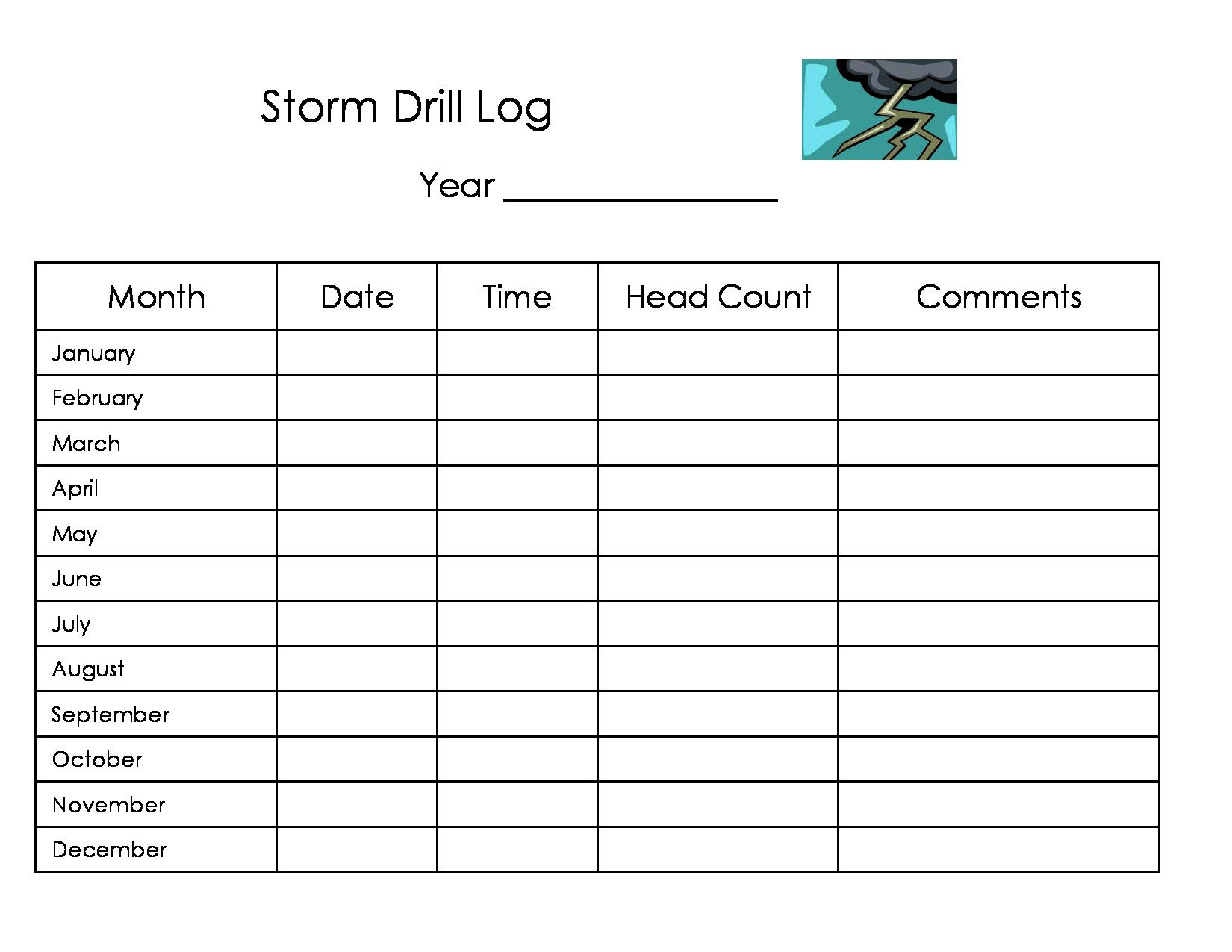 Free Printable Daycare Storm Drill Log Form Reallly