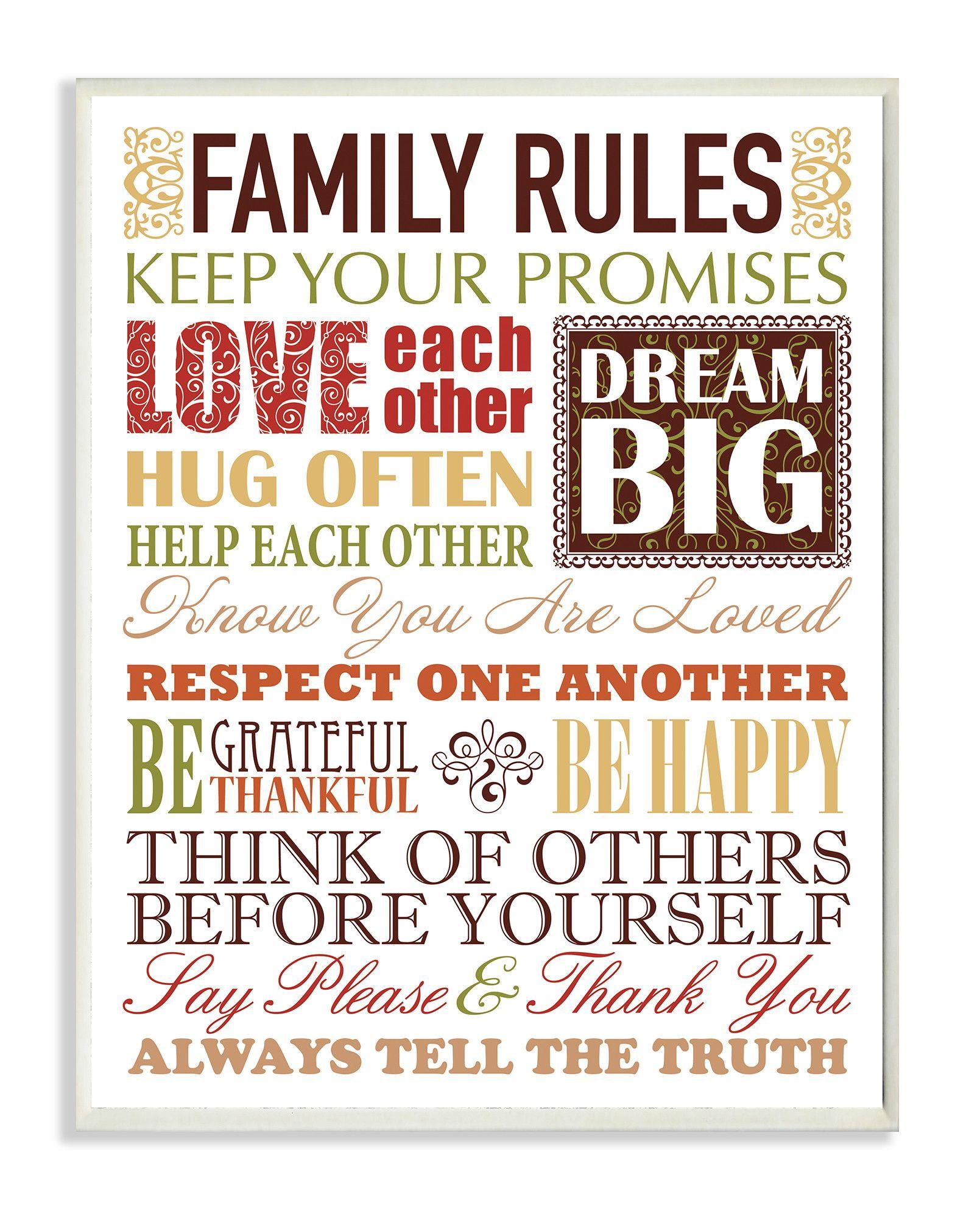 Family Rules Art Print | Joss & Main
