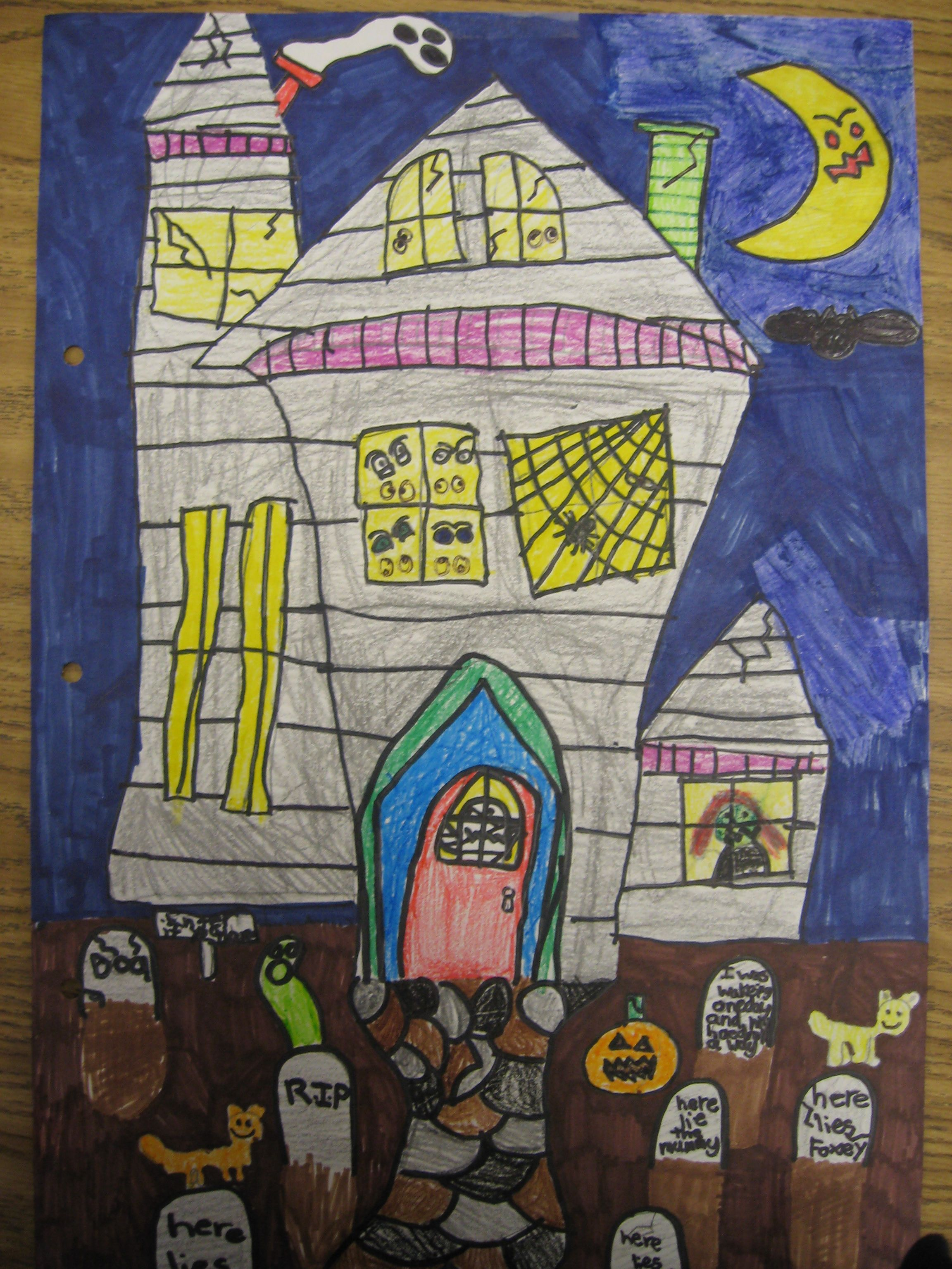 Haunted House Directed Draw With Images Halloween Art Lessons