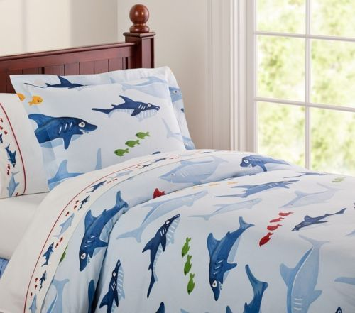 Pottery barn kids shark blue twin duvet cover new fish for Fish bedding twin
