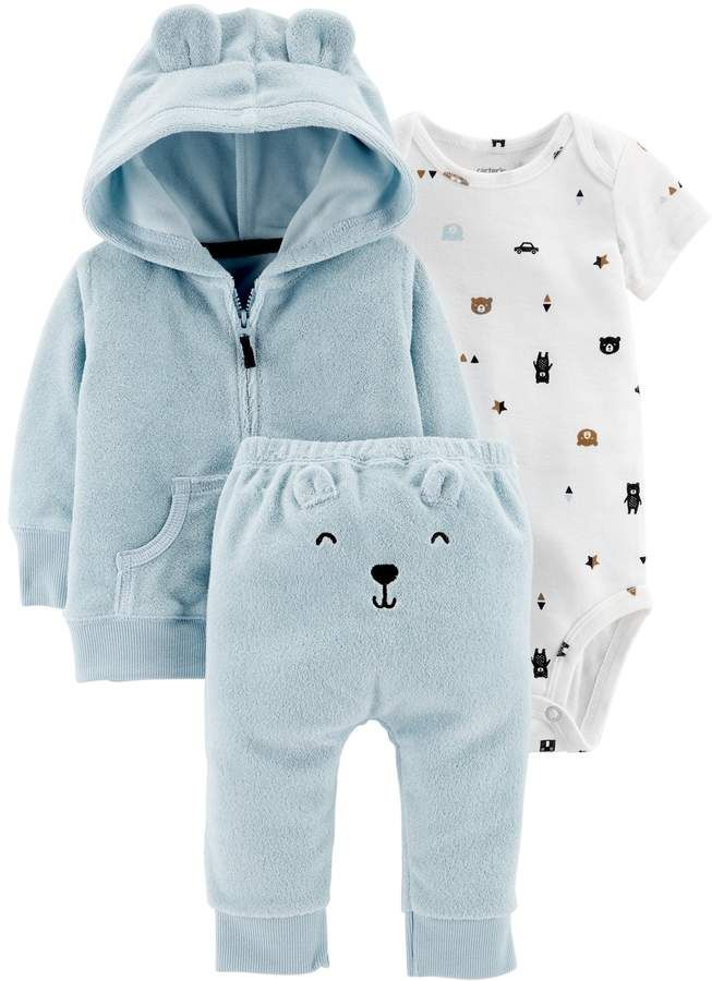 Carter S Baby Boy Print Bodysuit Hooded Cardigan