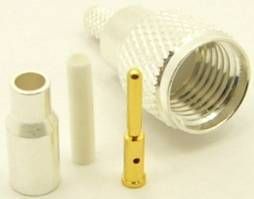 mini-UHF male, cable end, crimp-on, silver / Teflon for LMR-110, RG-174, RG-178, RG-188, RG-196, and Belden 8216 coaxial cable.   Stock No. 7600-174 $2.00 each