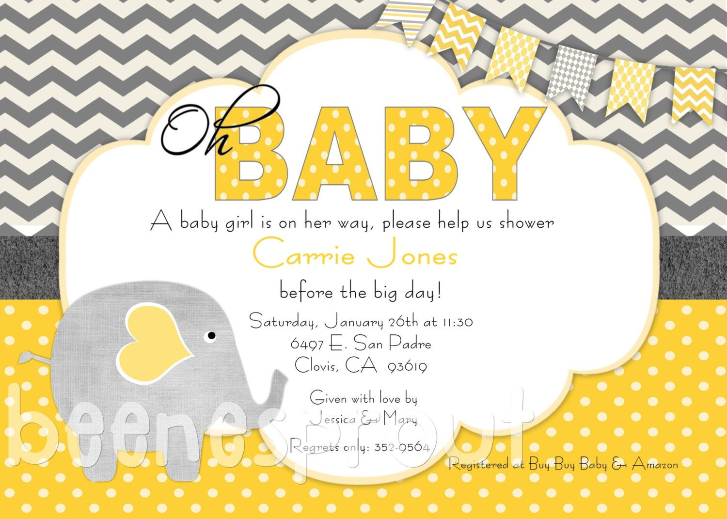 Yellow and Gray Elephant Baby Shower Invitation. $12.50, via Etsy ...