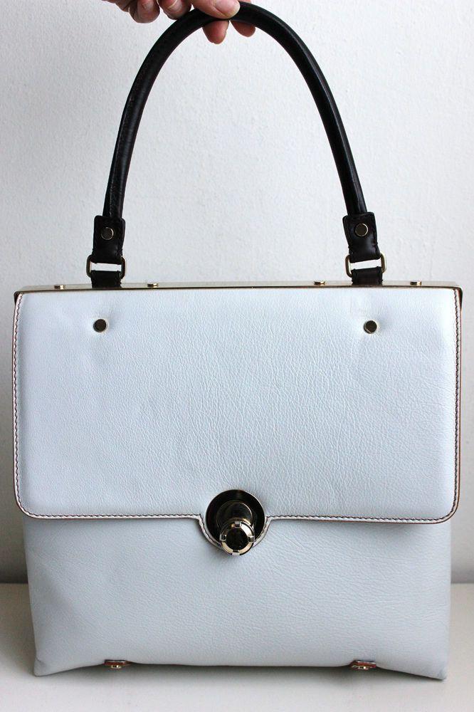 Authentic Lanvin Paris Pale Gray Leather Handbag Satchel