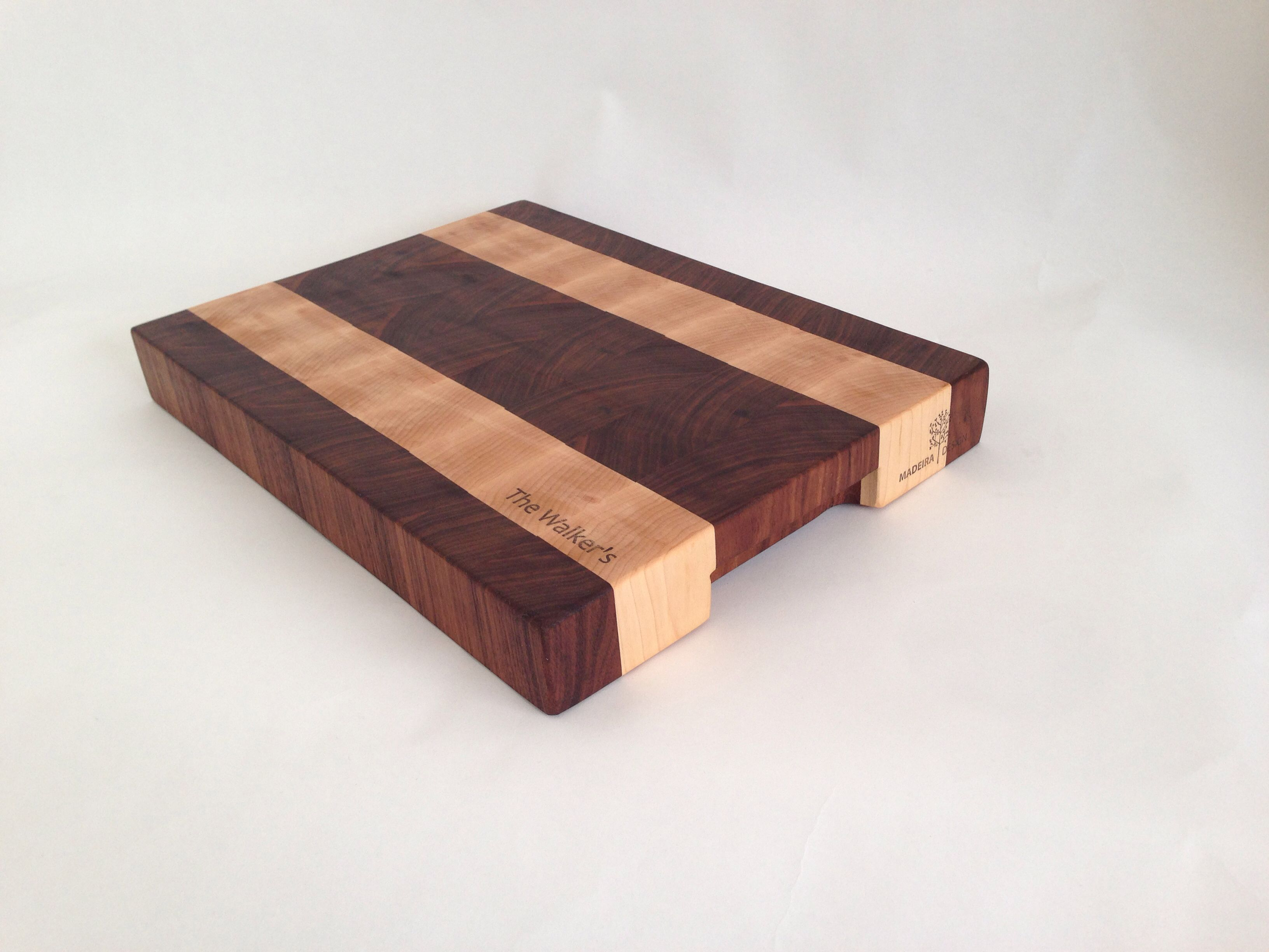 Walnut And Maple End Grain Cutting Board With Routed Handles