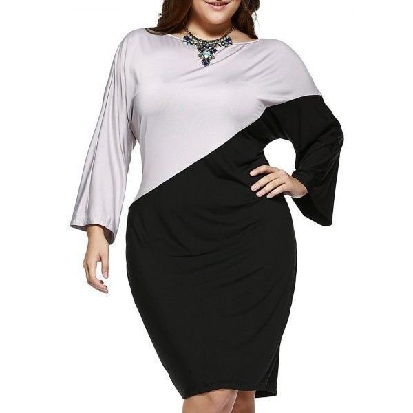 Chic Plus Size Hit Color Comfy Dress (16 CAD) ❤ liked on Polyvore featuring dresses, plus size day dresses, womens plus dresses, women's plus size dresses and plus size dresses