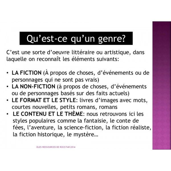 LES GENRES LITTÉRAIRES | For the love of French language ...