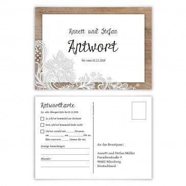 Individuelle Antwortkarten Hochzeit Postkarte - Rustikal mit weißer ...