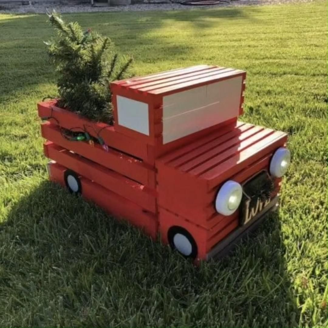 Photo of DIY Crate Red Pickup Truck