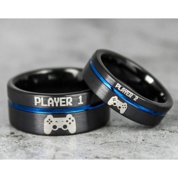 Player 1 Player 2 Rings Gamer Rings Black Tungsten Rings Black Wedding Bands Couple Ring Set Gamer Rings Black Tungsten Band Couple Jewelry Cute Jewelry