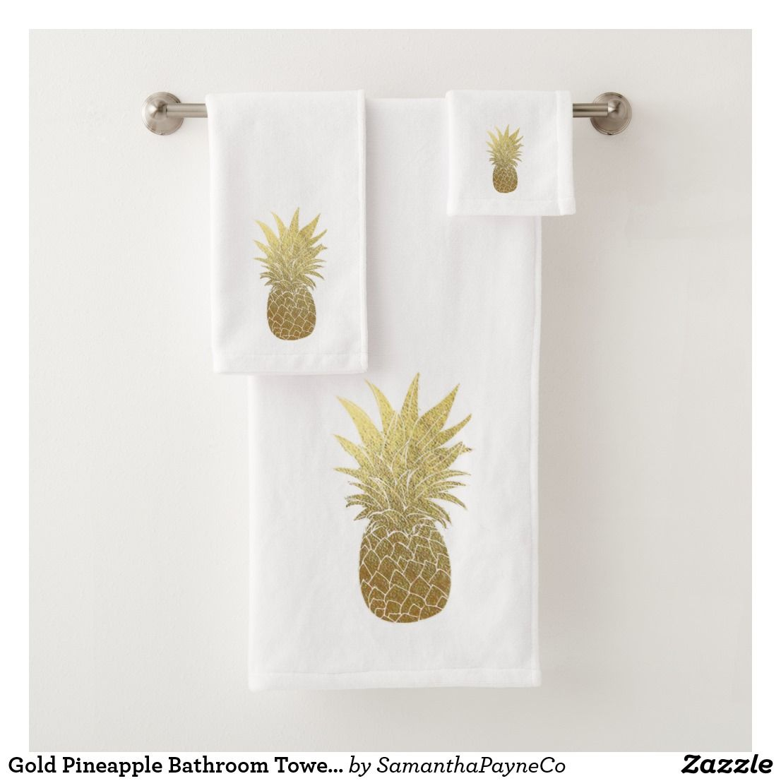 Gold Pineapple Bathroom Towel Set  Zazzle.com  Bathroom towels
