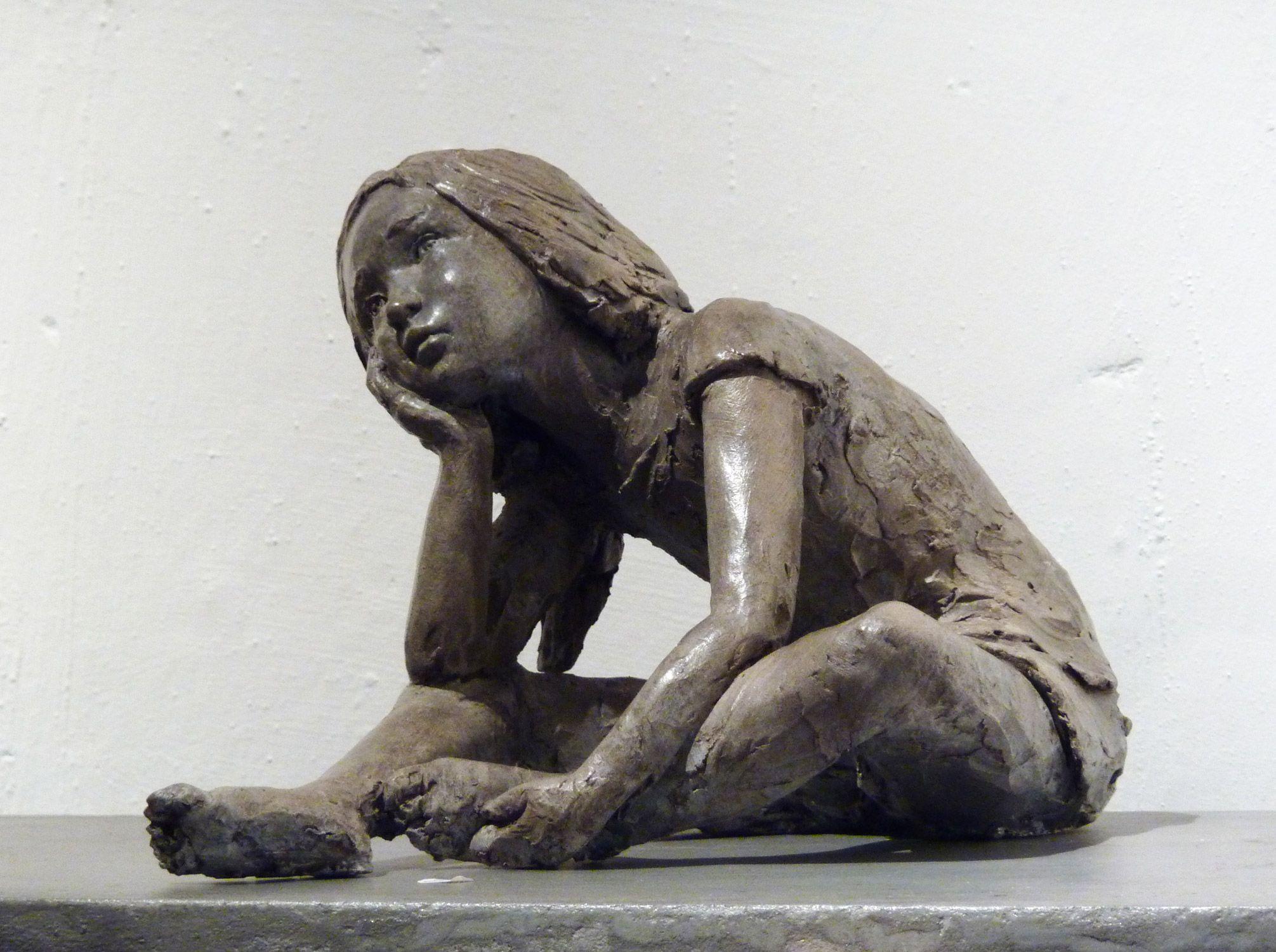 Favori Sculpture en terre cuite patinée sur le thème de l'enfance  EA02