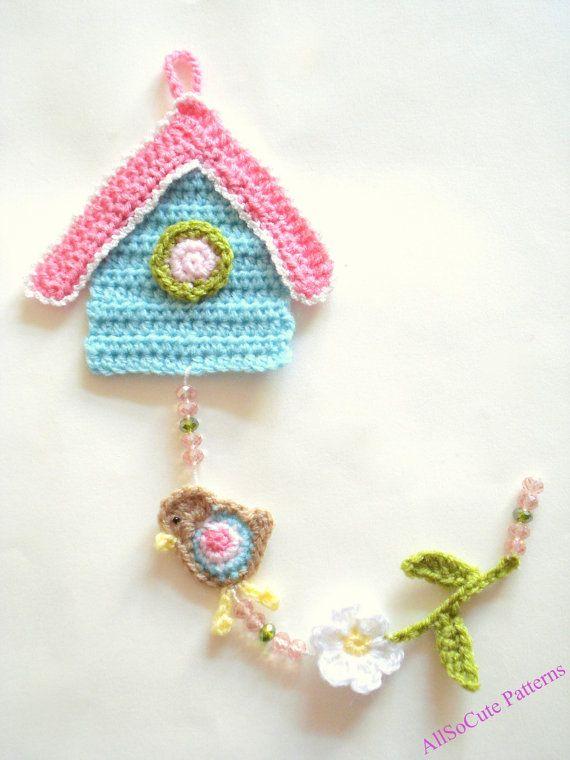 Crochet Birdhouse Pattern, Garland, PDF Pattern, Wall Hanging, Decor ...