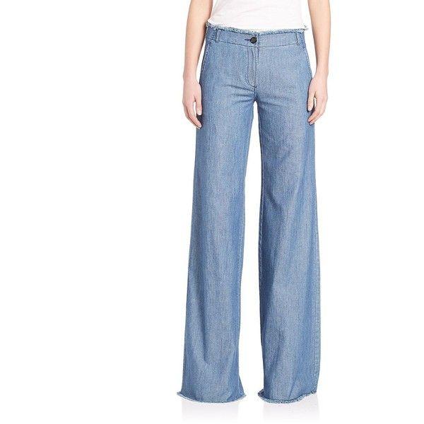 MICHAEL MICHAEL KORS Raw Edge Wide Leg Pants (1,600 MXN) ❤ liked on Polyvore featuring pants, apparel & accessories, light cadet wash, michael michael kors pants, blue pants, wide leg trousers, cotton trousers and lightweight pants
