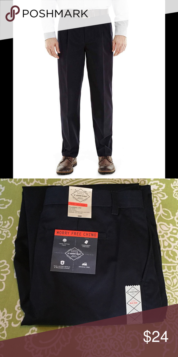 8af5639145 NWT Men's Navy Blue Worry Free Pleated Pants NEW W/TAGS Navy Blue Worry Free