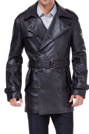 4eadbbce0e7 Mens Slim Fit Lambskin Leather Belted Trench Coat, Trench coat ...