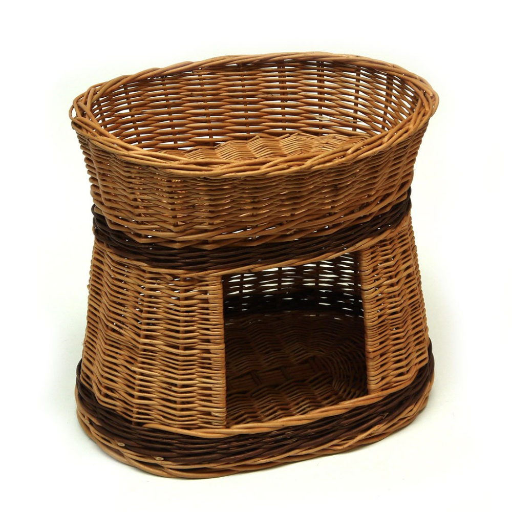 Wicker Oval Two Tier Pet Bed Basket House. Two cushions