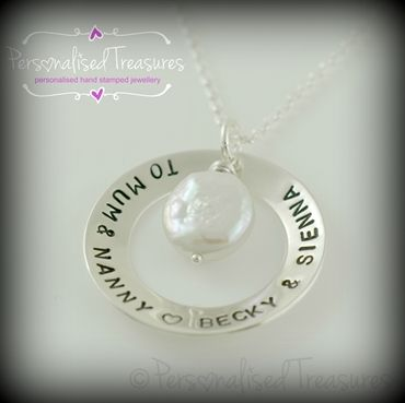 Personalised silver washer necklace with a pearl