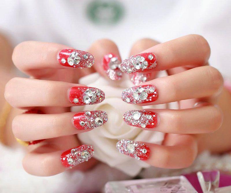 Nail art tutorial beautiful red nails with rhinestones