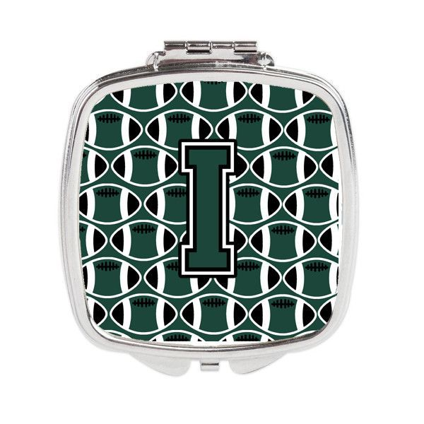 Letter I Football Green and White Compact Mirror CJ1071-ISCM