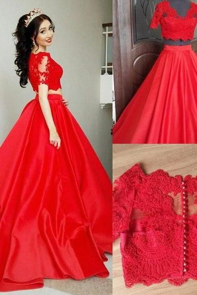 8369bc53881 2 Pieces Quinceanera Dresses,Red Ball Gown Prom Dresses ,Short Sleeves Lace  Prom Dresses,Two Pieces V Neck Prom Gowns,Red Quinceanera Dresses,Custom  Made ...