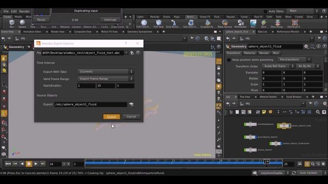 A quick and basic example of exporting Houdini VDB fluid