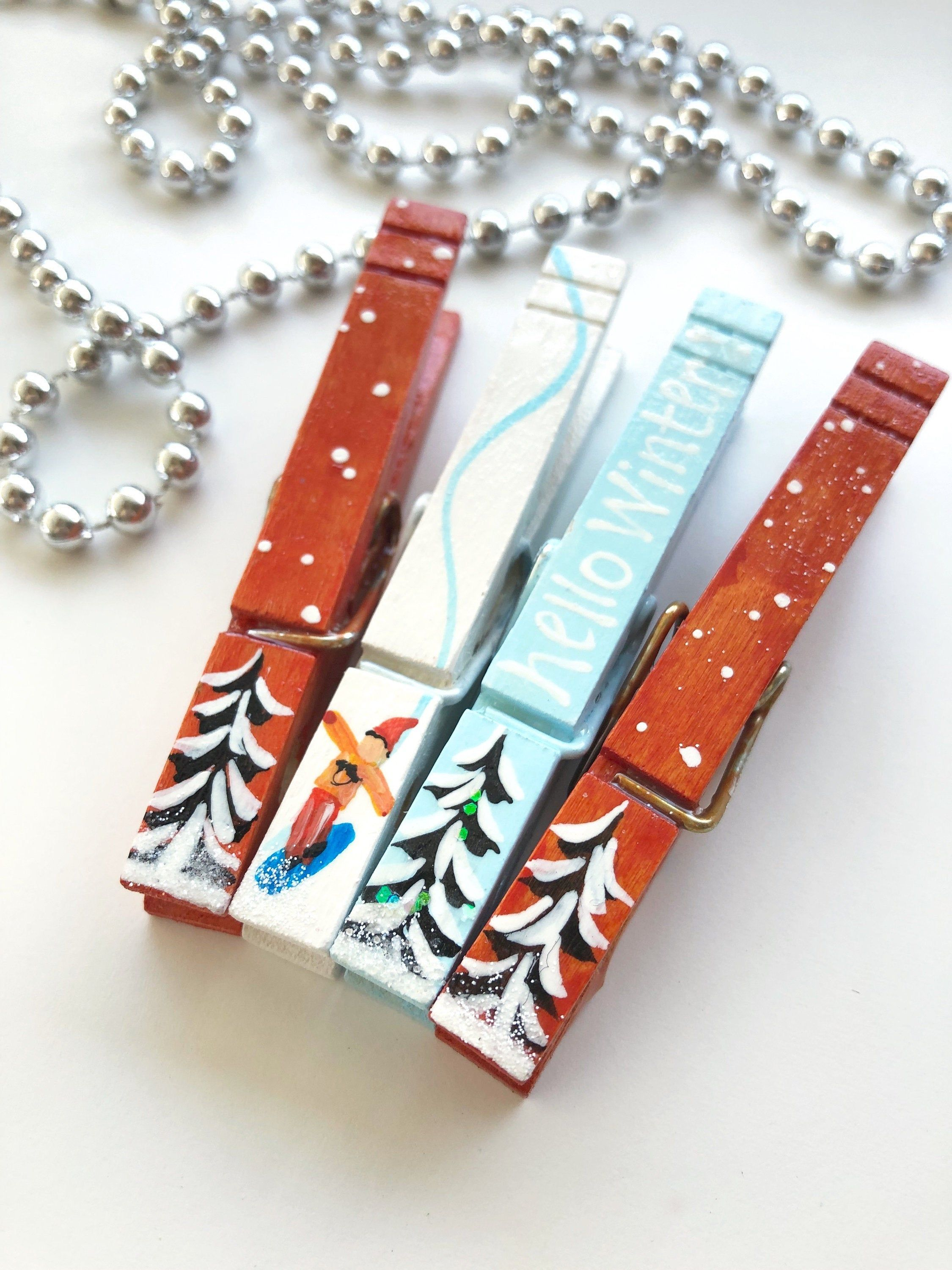 WINTER SNOWBOARD Clothespins Nordic Christmas trees snowboarder stocking stuffer Hello winter clothes pins painted clothespin card holder