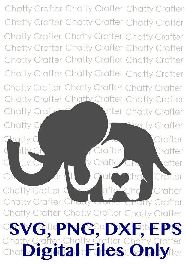 Mom & Baby Elephant Wall Decal Set Jungle Safari Children   Mom And Baby Elephant Outline