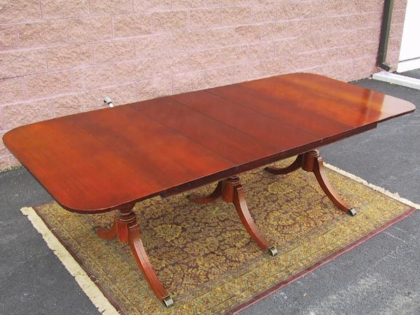 Duncan Phyfe Double Leaf Drop Leaf Table With Typical Splayed Legs And  Metal Capped Feet.
