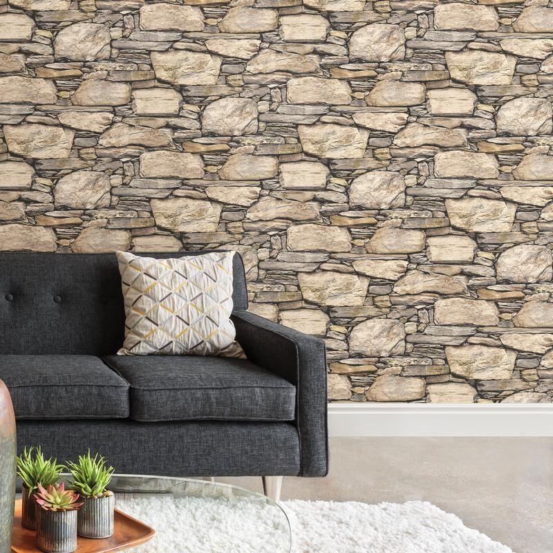 Wallpops Gray Tibetan Faux Grasscloth Wallpaper Nuwallpaper Peel And Stick Wallpaper Stone Wall
