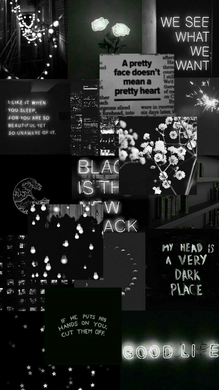 Black And White Aesthetic Moodboard And Collage With Moody Florals And Neon Signs Galaxy Wallpaper Dinding Gambar Fotografi Malam
