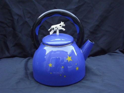 Kamenstein Royal Blue Tea Kettle W Yellow Stars Cow Topper Ebay