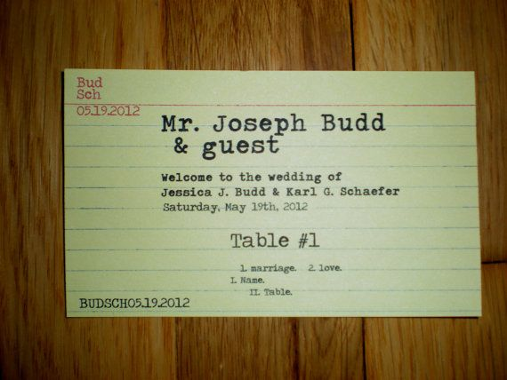 Catalog Card Wedding Place Cards By Thebirdandtard 20 00