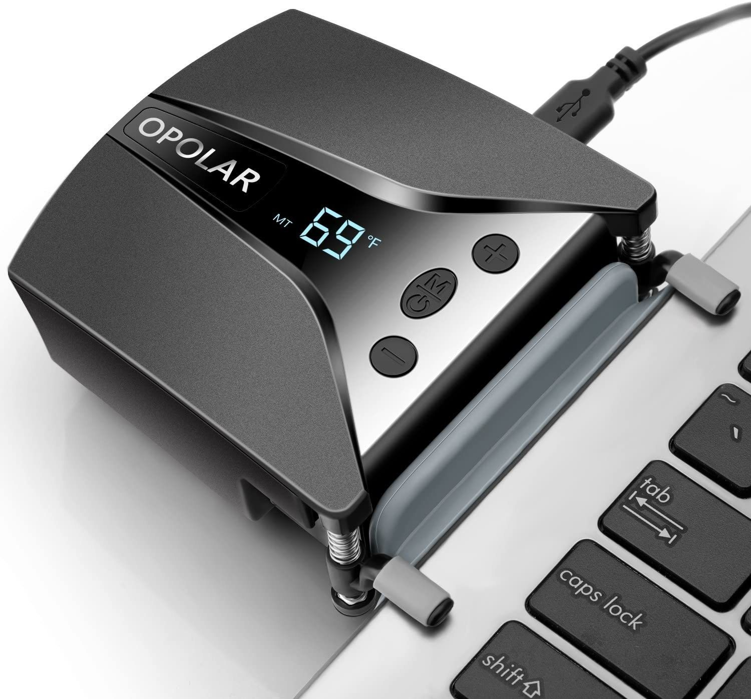 A laptop-cooling gadget that clamps right to the side of your computer and will…