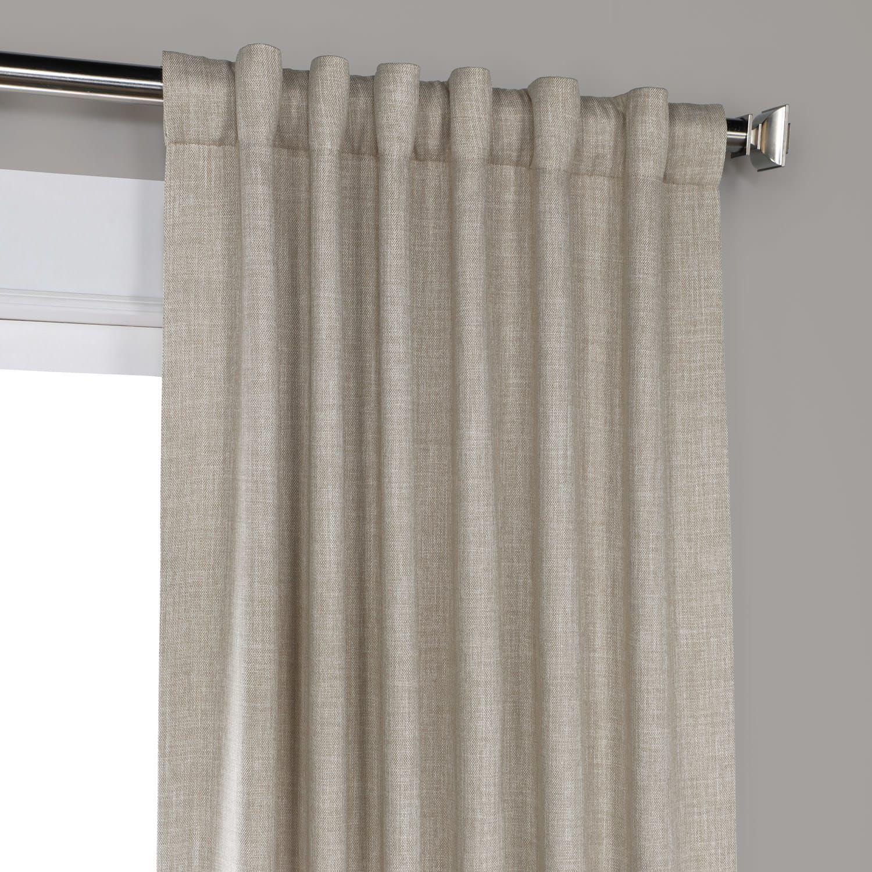 Oatmeal Faux Linen Blackout Room Darkening Curtain Linen
