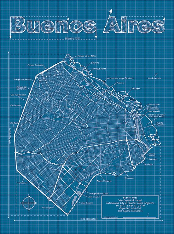 Buenos aires map original artwork buenos aires map art wall buenos aires artistic blueprint map by maphazardly on etsy 3000 malvernweather Images
