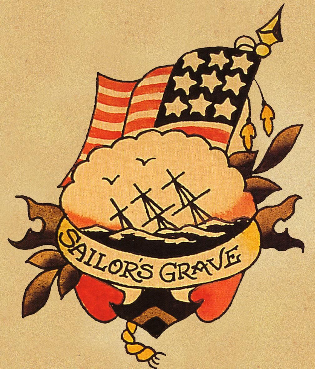 Sailor\'s Grave flash - Sailor Jerry. I like the scalloped edge and ...