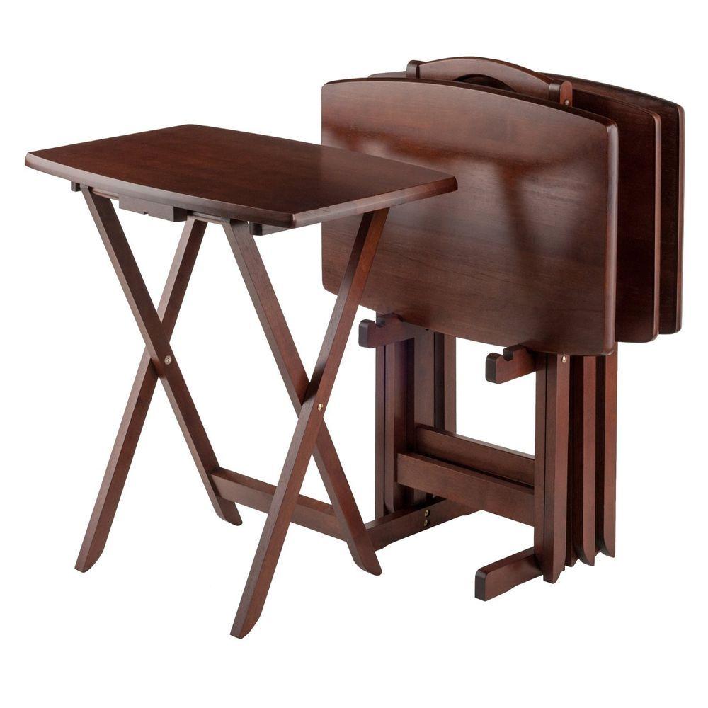 Tv Table Trays Folding Snack Set Wood Dinner Oversized Sturdy 5 Pc Storage Stand 737452990756 Ebay Snack Table Set Folding Snack Table Snack Table