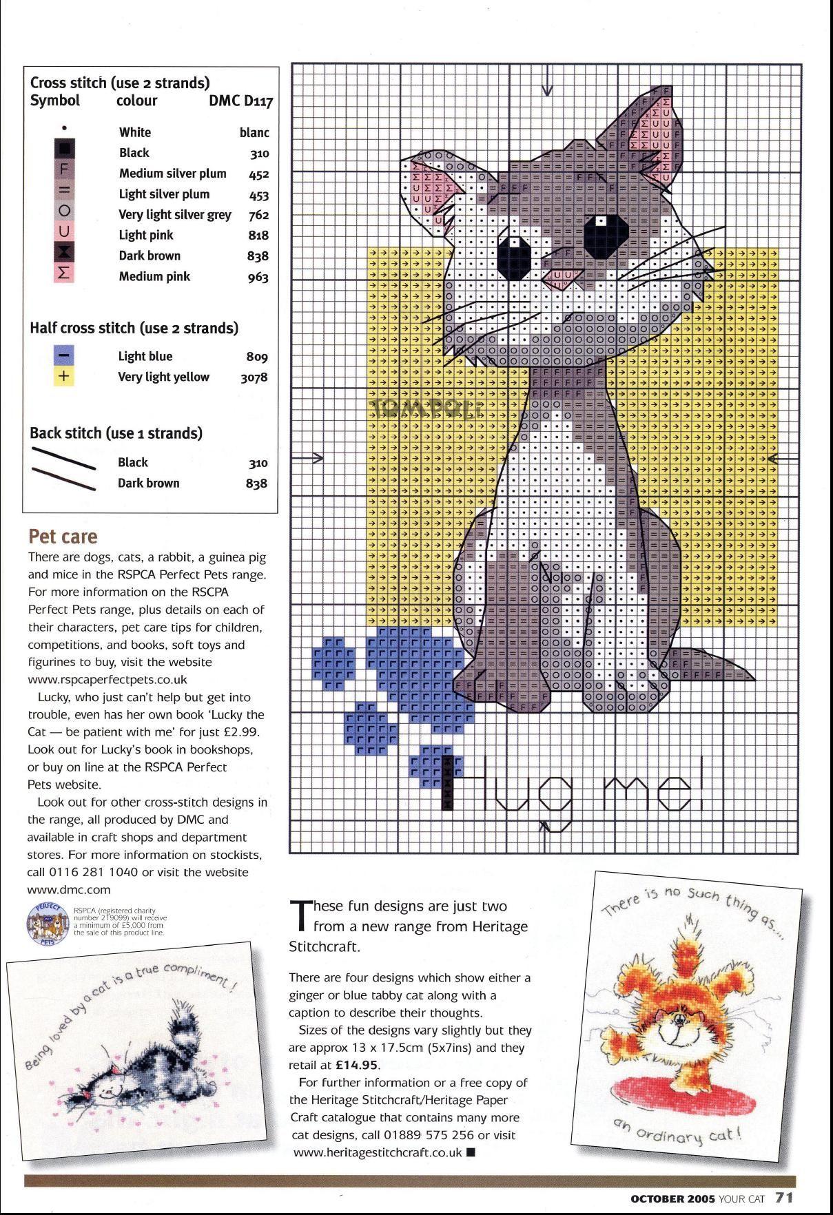 my cat in cross stitch. Punto de cruz. Gatito | Happy stitches ...