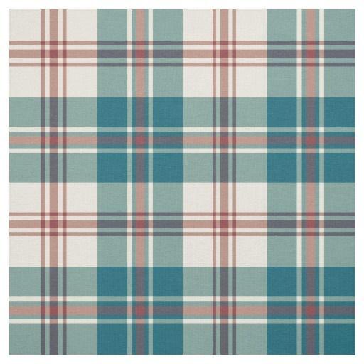 Heffalumps Red Deep Blue Beige Plaid Pattern Fabric In 2021 Plaid Pattern Pattern Retro Pattern